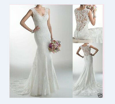 New White Ivory Lace Wedding Dress Bridal Gown Custom Size 6 8 10 12 14 16 18+++