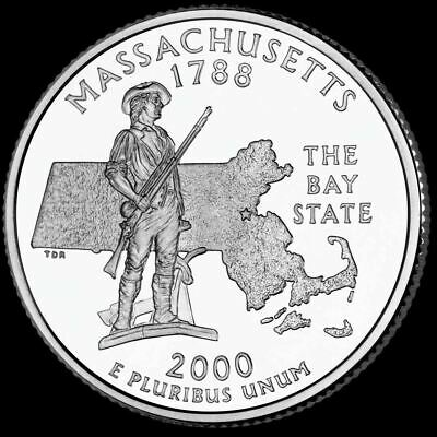 "2000 P Massachusetts State Quarter New U.S. Mint ""Brilliant Uncirculated"""
