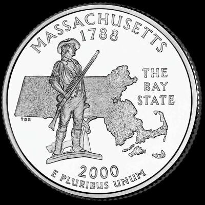 "2000 D Massachusetts State Quarter New U.S. Mint ""Brilliant Uncirculated"""