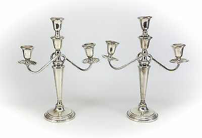 Pair Revere Weighted Sterling Silver 3-Light Candelabra