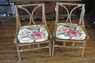 Pair Vintage Ficks Reed Bamboo Rattan Chairs all original Beautiful!