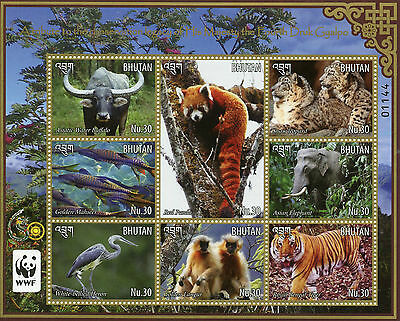 Bhutan 2015 MNH Conversation Leadership Majesty Fourth Druk Gyalpo WWF 8v M/S