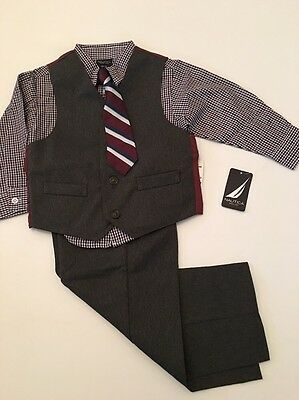 Nautica Boys Charcoal Grey Gray 4 piece Vest Suit Size 3T 5 Wedding Holiday