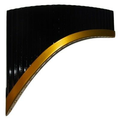 Professional Black & Gold 24 Pipes Tunable Pan Flute From Peru- Case Includ