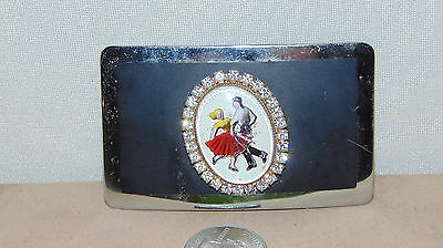 Vintage Silver Tone And Black  Belt Buckle Square Dancing With Clear Stones