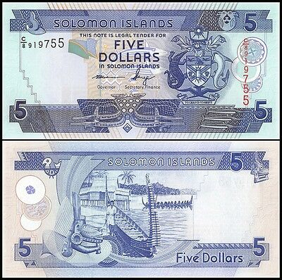 Solomon Islands 5 Dollars, 2012, P-32, UNC, New Signature