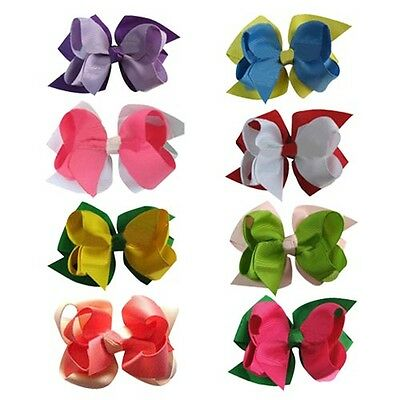 """3"""" Two Tone Double Layered Boutique Baby/Girl Hair Bow 16pcs in 8 color Mix"""