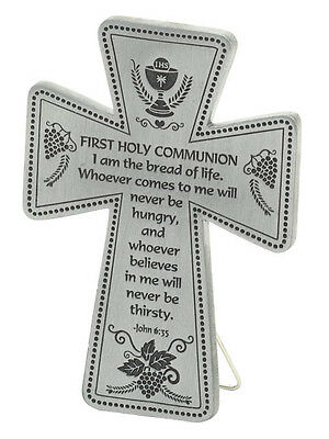 First Holy Communion Message Cross Plaque Stand