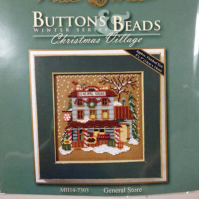 Cross Stitch Kit Christmas Village General Store Mill Hill Buttons Beads