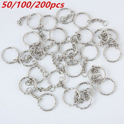 50/100/200 Keyring Blanks Silver Tone Key Chains Findings Split Rings 4 Link