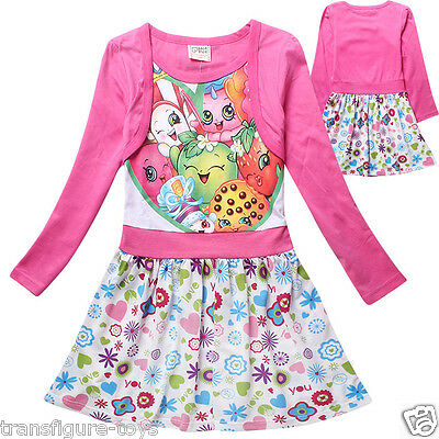 kids girls SHOPKINS clothing cotton dress pink shopkin stock in AU size 6-12
