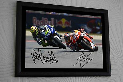 """Valentino Rossi Marc Marquez MotoGP A3 Framed Canvas Print Signed Tribute """"Gift"""""""