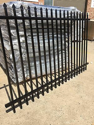 Steel Security Fence/Front Fencing Spear  Black Panel 2400x1200(h) 90mm gap