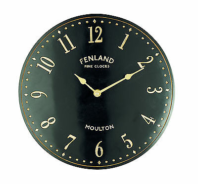 Gardman Outdoor Stable Wall Clock, 28 x 28cm, Quartz, Black & Gold Design