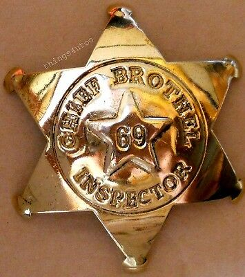 Old wild Chief Brothel Inspector brass star badge #130