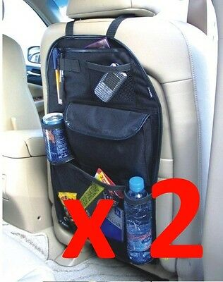 2 x BACK SEAT CAR VAN SEAT CHILDRENS ORGANISER TIDY MULTI-POCKET STORAGE TRAVEL!