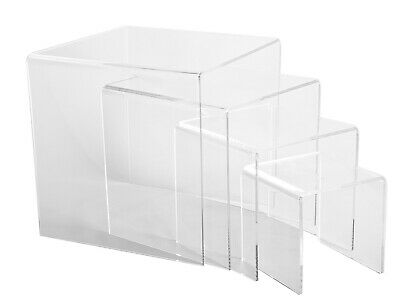 Heavy Duty Display Riser Set | Set of 4 Large Acrylic Risers | Ships Free in US