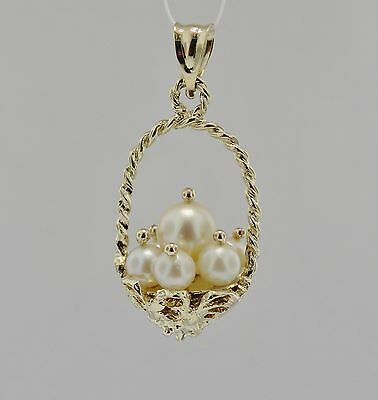 14K Yellow Gold Vintage 3-D Basket Of Pearls Charm/ Pendant