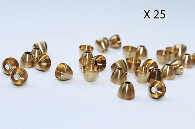 25 cônes laiton couleur or montage mouches 4 mm brass cone heads fly tying