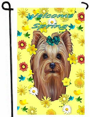 Exceptionnel YORKIE Painting GARDEN FLAG Dog Art Yorkshire Terrier Puppy Welcome Spring  NEW