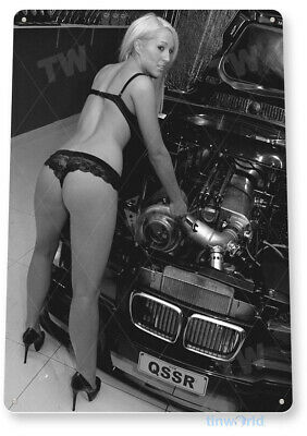 TIN SIGN Tighten It Up Pin-Up Hot Rod Garage Auto Shop Cave A188
