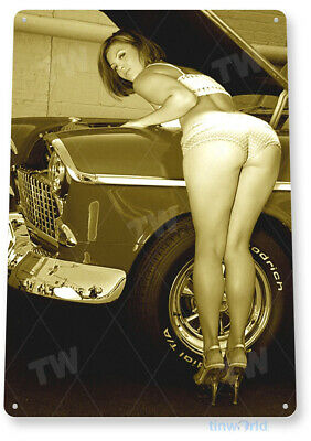 "TIN SIGN ""Work Heels"" Pin-up Metal Decor Wall Art Hot Rod Garage Shop Cave A010"