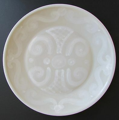 """Very Rare M.A. Hadley White on Gray Whimsical Folk Art Abstract 11"""" Plate"""