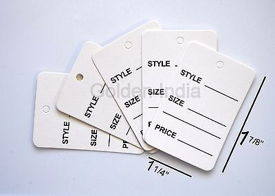 1000 White Merchandise Price Jewelry Garment Store Paper Tags 1 7/8'x1 1/4""