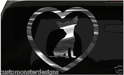 Chihuahua Heart Sticker Dog Puppy Love all chrome and regular vinyl colors