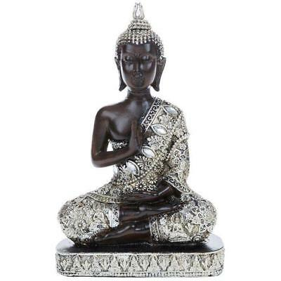 NEW Meditating Thai Buddha Silver Gold Statue Ornament Figurine 18cm BOXED