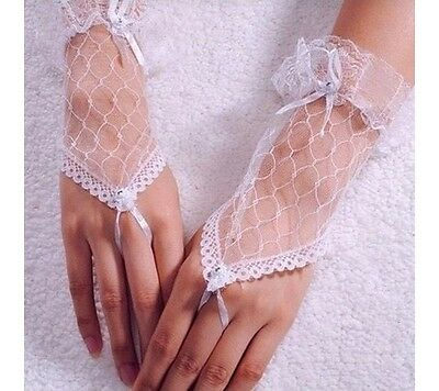 White Lace Wedding Gloves – One Size – Ribbon Bow