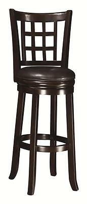 Wheat Back Espresso Brown Finish Swivel Bar Stool Chair by Coaster 102650