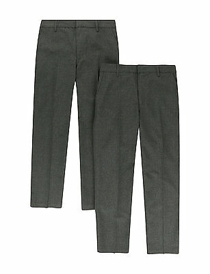 Ex M&S Boys Grey School Trousers Age 2-3 to 15-16