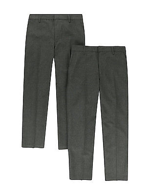 Ex M&S Boys Mens Grey Navy  School work Trousers Age 2-3 to 15-16 Waist 34 & 36