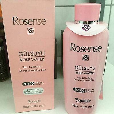 ROSENSE Rose Water 100% Natural DERMATOLOGICAL TESTED 300 ml / 10 FL. OZ