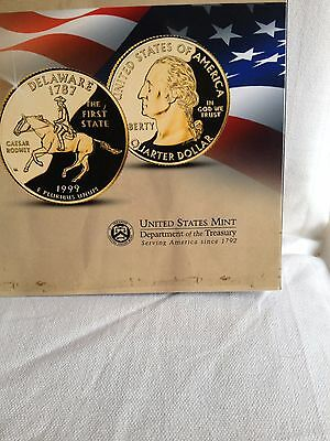 The most Famous State Quarters Gold plated Set All 50 States With Book