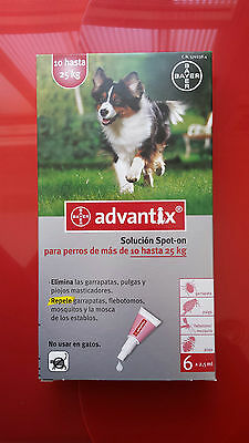 ADVANTIX 10-25kg, 6 PIPETAS antiparasitario
