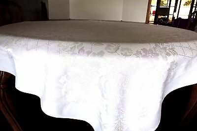 """Vtg Damask Tablecloth - 48.5"""" Square - White With Flowers"""