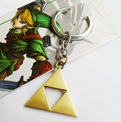 The Legend of Zelda Golden Power Triforce LOGO Pendant Keychain Keyring