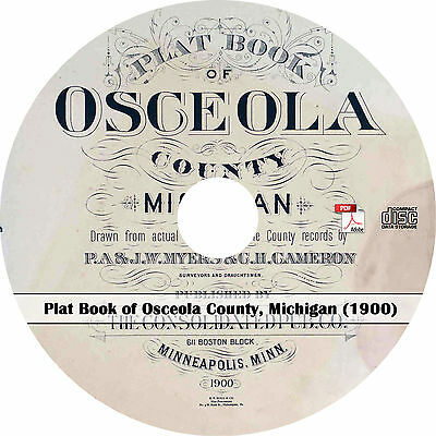 1900 Plat Book of Osceola County, Michigan - MI Genealogy Atlas Maps Book on CD