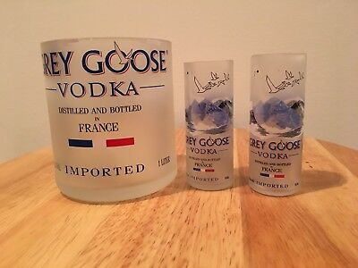 Grey Goose Vodka 1L bottle rocks glass & (2) 50ml Bottle Shot Glasses