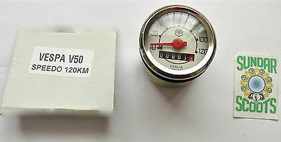 SPEEDO,WHITE FACE.120kph.STAINLESS STEEL RIM GOOD FOR V50 V90&V100 VESPA SCOOTS