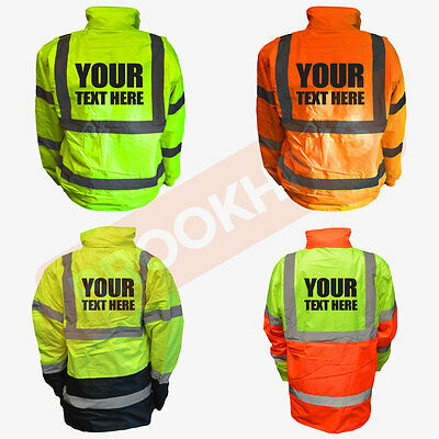 Custom Print Hi Viz Vis Personalised Jacket Bomber Parka Coat Safety Work Wear
