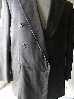 Mens Blazer Sport Coat Suit Jacket Vito Rufolo Double Breasted Window Pane 44R