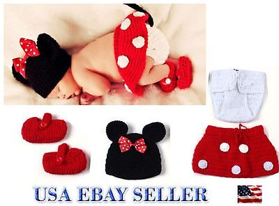 Baby Girls Knit Crochet Minnie Mouse 4 Pcs Costume Photo Prop Outfit.