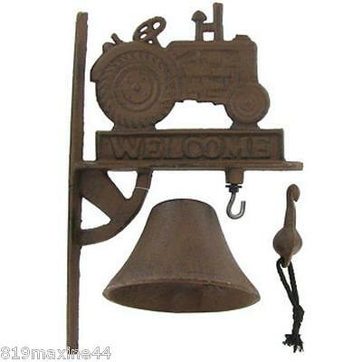 Rust Cast Iron Welcome Tractor Door Bell, rustic chic decor, farm, cottage