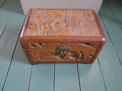 Antique High Relief Carved Chinese Asian Wood Wooden Keepsake Box
