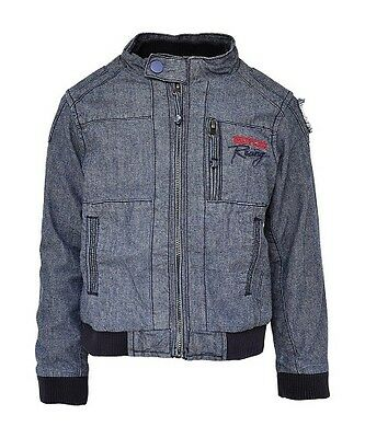 New Boys Indy Car Blue Denim Quality Jacket Coat Lined Age 6 12 18 24 Months 2 3