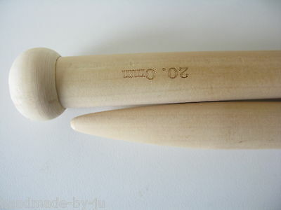 20mm 40cm long jumbo wood knitting needles pair