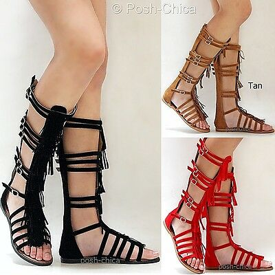55680ad5b518 NEW WOMEN FK50 Red Tan Black Fringe Gladiator Knee High Tall Sandals ...